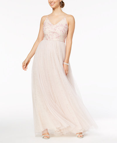 Adrianna Papell Sequined Embroidered Tulle Gown