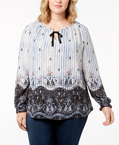 Style & Co Plus Size Printed Peasant Top, Created for Macy's