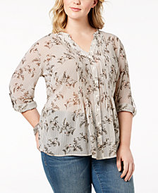 Style & Co Plus Size Printed Pleated Blouse, Created for Macy's