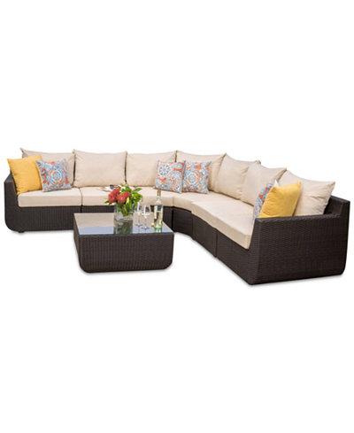 Carmel Outdoor 7-Pc. Sectional Sofa Set, Quick Ship