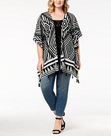 Say What? Trendy Plus Size Printed Tasseled Kimono