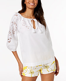 Trina Turk Cotton Laser Cut Peasant Top