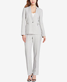Tahari ASL One-Button Star-Neck Pantsuit