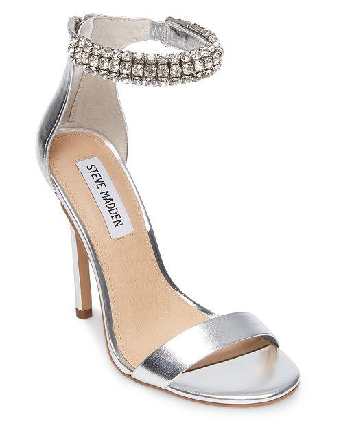 Steve Madden Rando Suede Rhinestone Ankle Strap Dress Sandals vUEc9wD