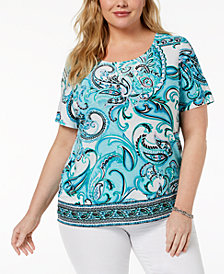 JM Collection Plus Size Jacquard Top, Created for Macy's