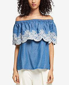 DKNY Off-The-Shoulder Chambray Top, Created for Macy's