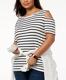 Tommy Hilfiger Plus Size Striped Cold-Shoulder Top, Created for Macy's