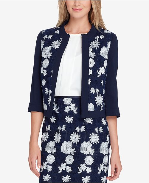 Tahari ASL Embroidered Open-Front Jacket