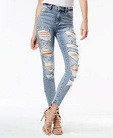 GUESS 1981 Ripped Embellished Skinny Jeans