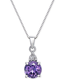"Amethyst (1 ct. t.w.) & Diamond Accent 18"" Pendant Necklace in 14k White Gold"
