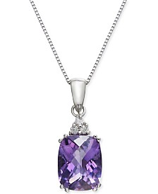 "Amethyst (2-7/8 ct. t.w.) & Diamond Accent 18"" Pendant Necklace in 14k White Gold"