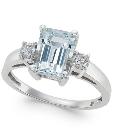 Aquamarine (1-5/8 ct. t.w.) & Diamond (1/5 ct. t.w.) Ring in 14k White Gold