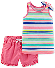 Carter's 2-Pc. Striped Cotton Tank Top & Cotton Shorts Set, Toddler Girls
