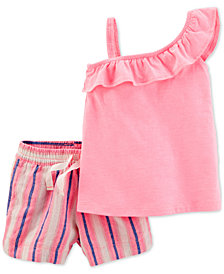 Carter's 2-Pc. One-Shoulder Top & Shorts Set, Little & Big Girls