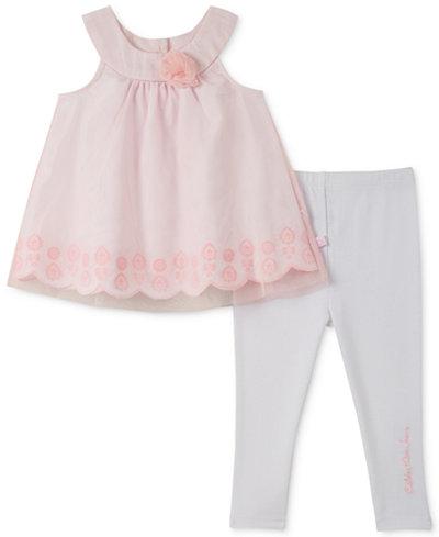 Calvin Klein 2-Pc. Lace Tunic & Leggings Set, Baby Girls