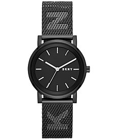DKNY Women's SoHo Black Stainless Steel Mesh Bracelet Watch 34mm, Created for Macy's