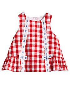 Marmellata Red & White Gingham Cotton Dress, Baby Girls