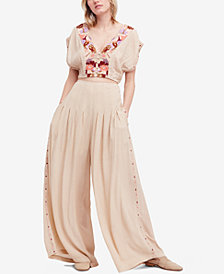 Free People 2-Pc. Embroidered Crop Top & Wide-Leg Pants