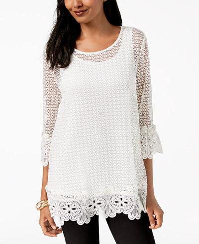 Alfani Petite Crochet-Lace Top, Created for Macy's