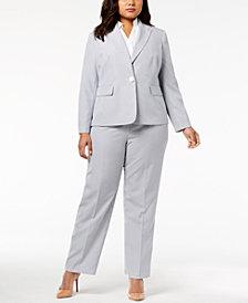 Le Suit Plus Size Seersucker Pantsuit