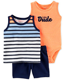 Carter's Baby Boys 3-Pc. Printed Bodysuit, Top & Shorts Set