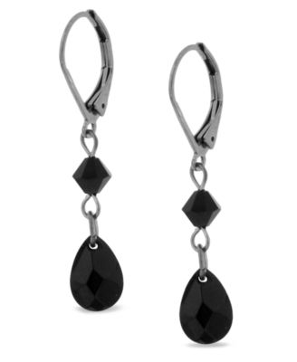 Image of 2028 Hematite Tone Jet Double Drop Earrings, a Macy's Exclusive Style