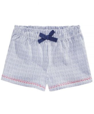 Striped Cotton Shorts, Baby Girls, Created for Macy's