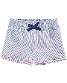 First Impressions Striped Cotton Shorts, Baby Girls, Created for Macy's