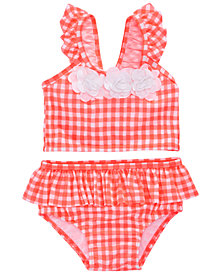 First Impressions 2-Pc. Gingham-Print Tankini, Baby Girls, Created for Macy's