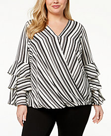 Alfani Plus Size Tiered-Sleeve Top, Created for Macy's