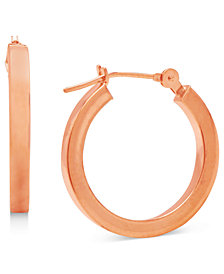 14k Rose Gold Earrings, Polished Hoop