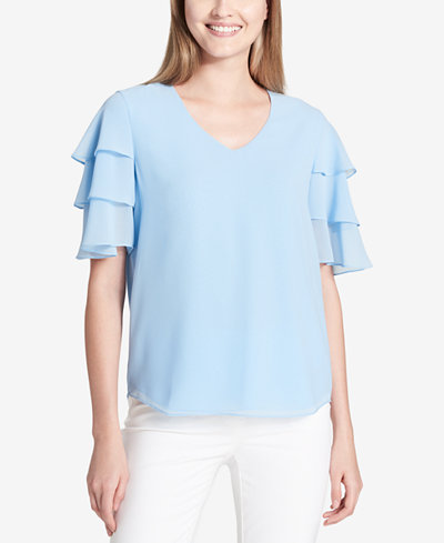 Calvin Klein Tiered Ruffle-Sleeve Top