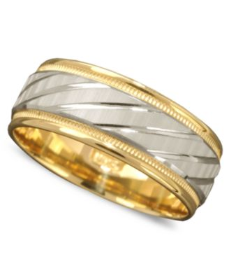 Mens 14k Gold and 14k White Gold Ring Spiral Dome Band Rings