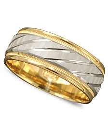 Men's 14k Gold and 14k White Gold Ring, Spiral Dome Band