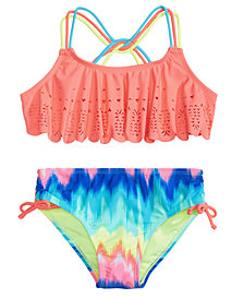Breaking Waves 2-Pc. Rainbow-Print Flounce Bikini, Little Girls & Big Girls