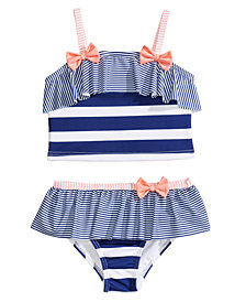 Penelope Mack 2-Pc. Stripes & Bows Bikini, Little Girls