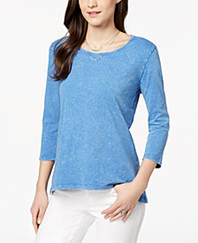Style & Co Petite Cotton Pleat-Back Peplum Top, Created for Macy's