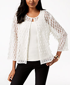 Alfani Mesh Appliqué 3/4-Sleeve Jacket, Created for Macy's