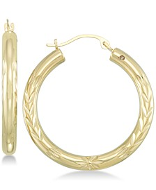 Diamond Accent Leaf Embossed Hoop Earrings in 14k Gold over Resin