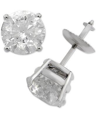 Macy S Diamond Stud Earrings In 14k White Gold 3 Ct T W