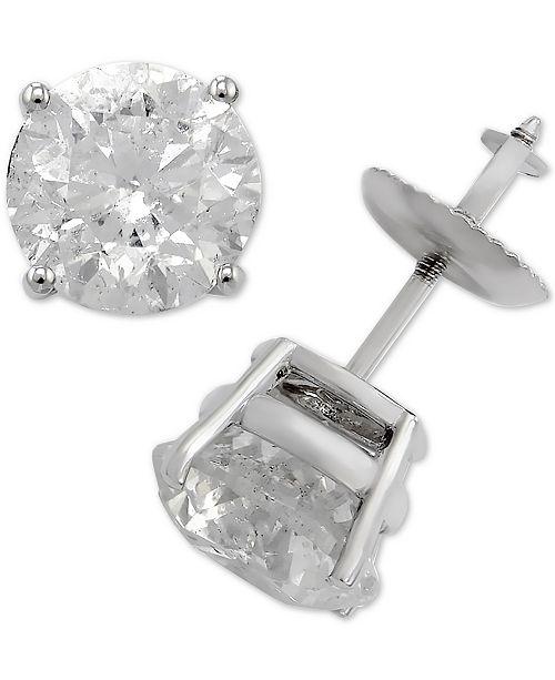 Macy S Diamond Stud Earrings In 14k White Gold 3 Ct T W Jewelry Watches