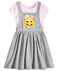 Awake Layered-Look Emoji Jumper Dress, Little Girls