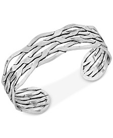 Lucky Brand Silver-Tone Twisted Cuff Bracelet