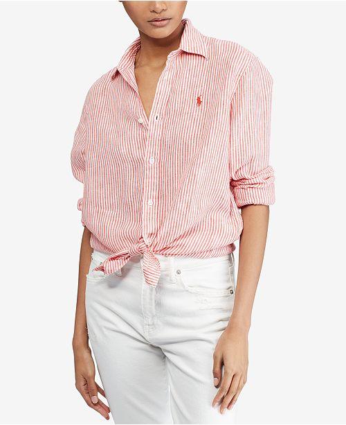 c526ab24d28 Polo Ralph Lauren Relaxed Linen Shirt   Reviews - Tops - Women ...