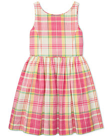 Polo Ralph Lauren Fit & Flare Cotton Madras Dress, Big Girls