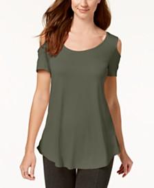 58bf03b5819f2 JM Collection Cold-Shoulder Swing T-Shirt