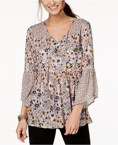 Style & Co Mixed-Print Peasant Top, Created for Macy's