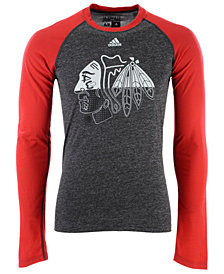 adidas Men's Chicago Blackhawks Large Logo Fade Long Sleeve T-Shirt