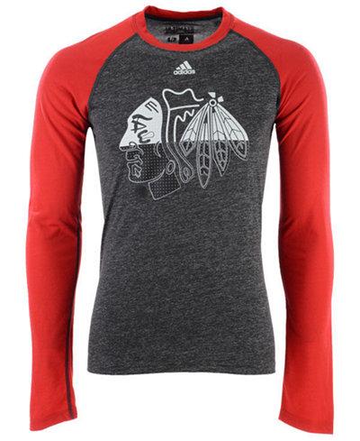 adidas Men's Chicago Blackhawks Large Logo Fade Long Sleeve T-Shirt