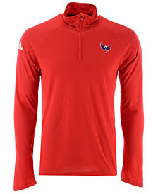 adidas Men's Washington Capitals Secondary Logo Climatelite Quarter-Zip Pullover